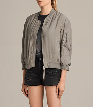 Women's Angie Light Bomber Jacket (Washed Khaki) - Image 3