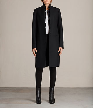 Womens Mae Ruffle Coat (Black) - Image 1