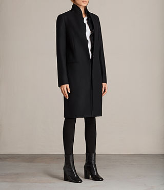Womens Mae Ruffle Coat (Black) - Image 3