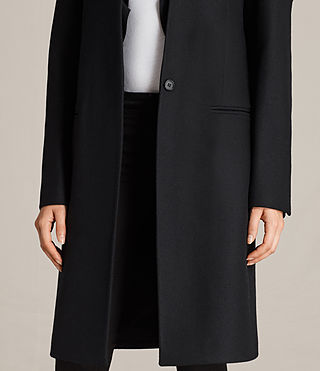 Womens Mae Ruffle Coat (Black) - Image 4