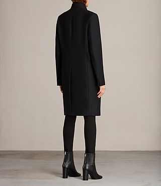 Womens Mae Ruffle Coat (Black) - Image 6