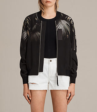 Womens Harlow Neluwa Silk Bomber Jacket (Black) - product_image_alt_text_1