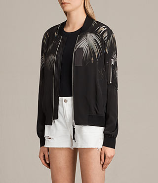 Womens Harlow Neluwa Silk Bomber Jacket (Black) - product_image_alt_text_3