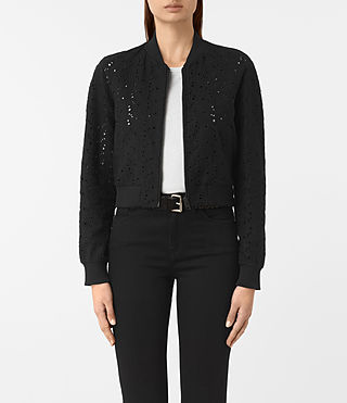 Femmes Baine Wool Bomber Jacket (Black)