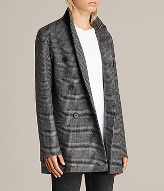 Women's Astrid Check Blazer (Grey Check) - product_image_alt_text_4