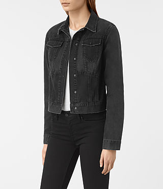 Womens Jasper Denim Jacket (Black) - product_image_alt_text_3