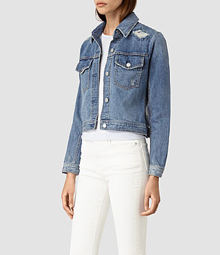 Damen Katie Distressed Jacket (Indigo Blue)