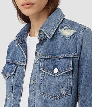 Womens Katie Distressed Jacket (Indigo Blue) - product_image_alt_text_2
