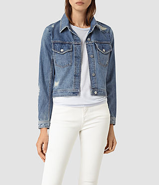 Womens Katie Distressed Jacket (Indigo Blue) - product_image_alt_text_3