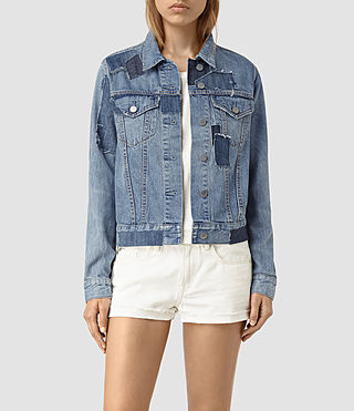Women's Patches Denim Jacket (Mid Indigo) -