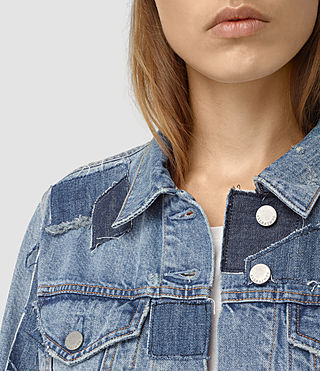 Women's Patches Denim Jacket (Mid Indigo) - product_image_alt_text_2