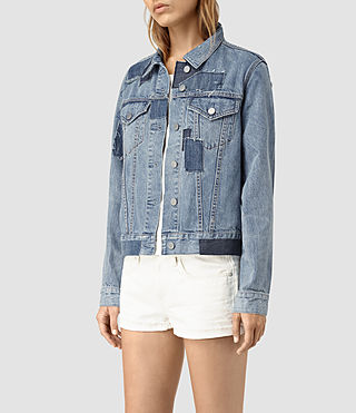 Women's Patches Denim Jacket (Mid Indigo) - product_image_alt_text_3