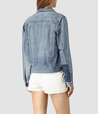 Women's Patches Denim Jacket (Mid Indigo) - product_image_alt_text_4