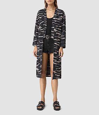 Womens Odelia Tye Kimono (BLACK/PINK)