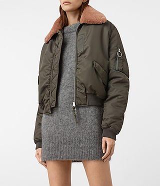 Femmes Luca Bomber Jacket (Khaki Green) - product_image_alt_text_3