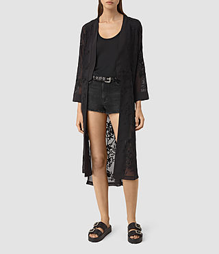 Womens Amarey Embroidered Kimono (Black)