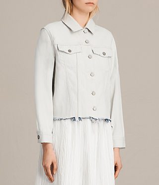 Damen Justina Rip Denim Jacket (PORCELAIN WHITE) - Image 3