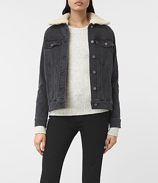 Womens Annie Denim Jacket (Washed Black) - product_image_alt_text_1