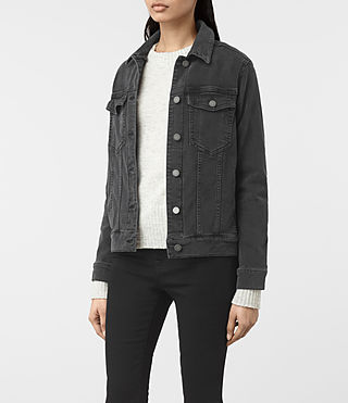 Womens Annie Denim Jacket (Washed Black) - product_image_alt_text_3
