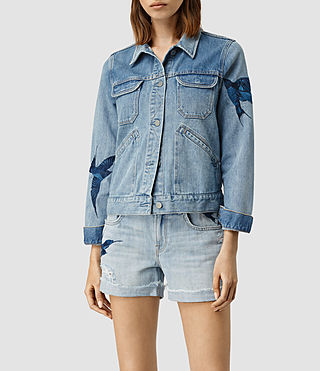 Women's Birds Denim Jacket (Indigo Blue)