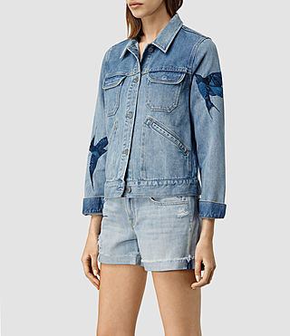 Women's Birds Denim Jacket (Indigo Blue) - product_image_alt_text_2