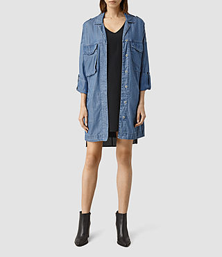 Mujer May Tencel Coat (Indigo Blue) - product_image_alt_text_1
