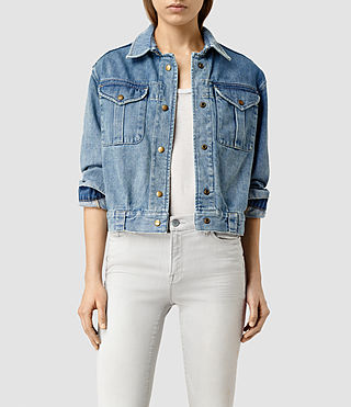 Womens Rex Boxy Military Denim Jacket (Indigo Blue)