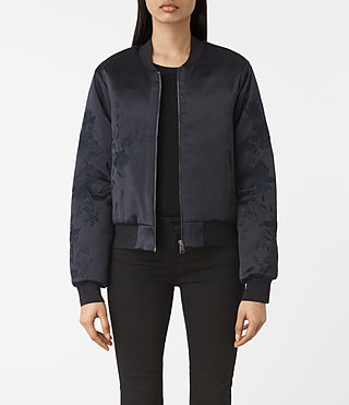 Womens Charlie Embroidered Bomber Jacket (Ink Blue)