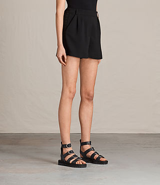 Women's Coline Embroidered Shorts (Black) - product_image_alt_text_3