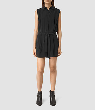 Women's Nila Silk Playsuit (Black)