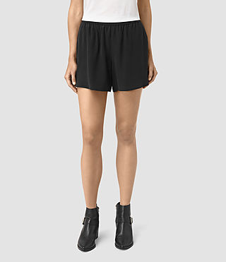 Donne Kaplan Silk Shorts (Black) - product_image_alt_text_2