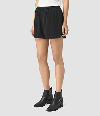 Donne Kaplan Silk Shorts (Black) - product_image_alt_text_3