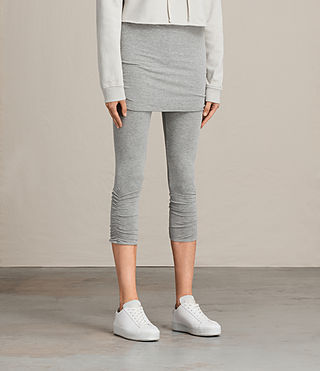 Womens Ruched Crop Raffi Leggings (Grey Marl) - product_image_alt_text_4