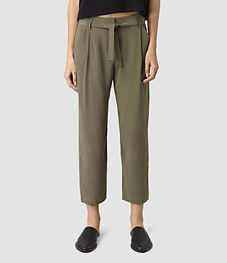 Womens Palmer Silk Trousers (Light Khaki)