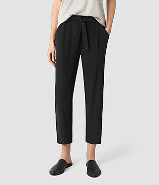Women's Palmer Silk Trousers (Black) -