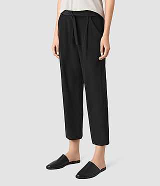 Women's Palmer Silk Trousers (Black) - product_image_alt_text_2