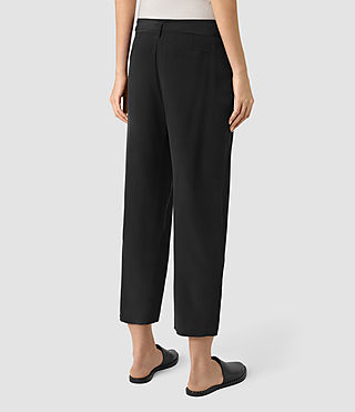 Women's Palmer Silk Trousers (Black) - product_image_alt_text_3