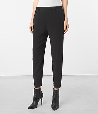 Womens Helena Silk Pants (Black) - product_image_alt_text_1