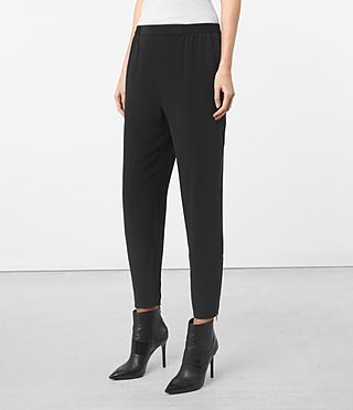 Mujer Helena Silk Trousers (Black) - product_image_alt_text_2