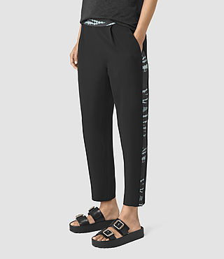Womens Misty Tye Silk Trousers (BLACK/CYAN)