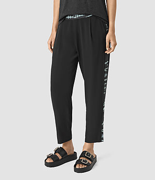 Femmes Misty Tye Trousers (BLACK/CYAN) - product_image_alt_text_2