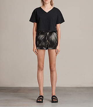 Damen Emen Neluwa Palm Silk Shorts (Black) - Image 1