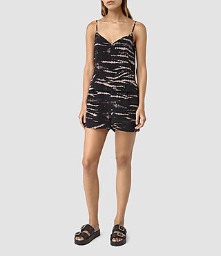 Women's Voltere Tye Silk Playsuit (BLACK/PINK)