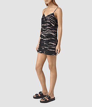 Donne Voltere Tye Silk Playsuit (BLACK/PINK) - product_image_alt_text_3