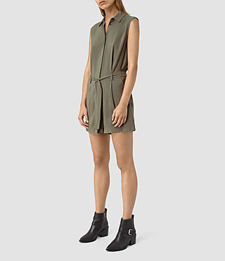 Women's Nila T Playsuit (EARTHY GREEN) - product_image_alt_text_2