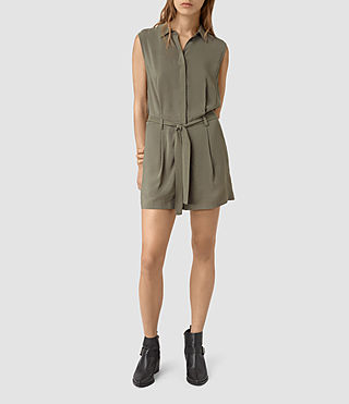 Women's Nila T Playsuit (EARTHY GREEN) - product_image_alt_text_3