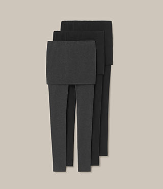 Damen Raffi Leggings 3 Pack (Black/Charcoal)