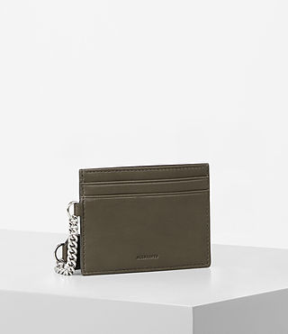 Womens Fin Leather Cardholder (Dark Khaki) - Image 3