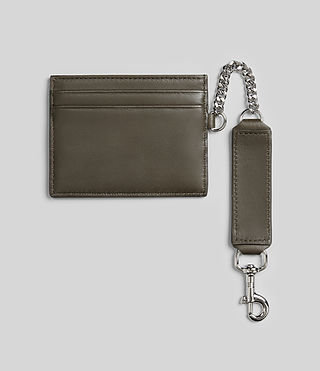 Womens Fin Leather Cardholder (Dark Khaki) - Image 4