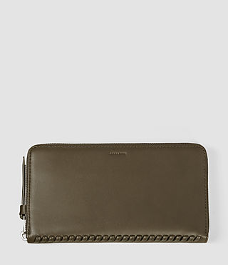 Womens Club Zip Around Leather Wallet (Dark Khaki)